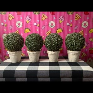 Set of 4 light-up faux boxwood topiary